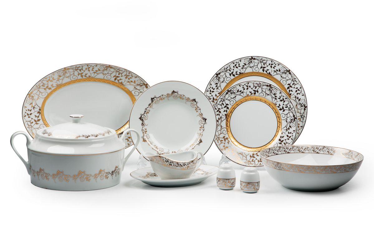 Mimosa Lierre Or 947, сервиз столовый 25 предметов, цвет: белый с золотом539 825 947Супница 3,5 л , глубокая тарелка 22 см 6 штук , тарелка 27см 6 штук , десертная тарелка 21см 6 штук , солонка, перечница, Блюдо овальное 24 см, Блюдо овальное 35 см , салатник 25см, соусник 230мл. Элегантная посуда класса люкс теперь на вашем столе каждый день. Сделанные из высококачественного материала с использованием новейших технологий, предметы сервировки Tunisie Porcelaine невероятно прочны и прекрасно подходят для повседневного использования.