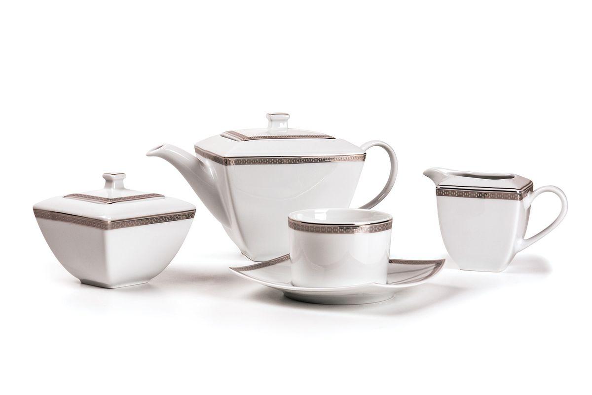 Kyoto 1554 Чайный сервиз 15 пр.платина , цвет: белый с платиной719510 1554Чайник 1 л, сахарница 250мл, молочник 280мл, чайная пара 220 мл *6 штук . Фарфор фабрики Tunisie Porcelaine, производится в Тунисе из знаменитой своим качеством и белизной глины, добываемой во французской провинции Лимож.Преимущества этого фарфора заключаются в устойчивости к сколам и трещинам, что возможно благодаря двойному термическому обжигу. Европейский дизайн, декор и формы обеспечиваются за счет тесного сотрудничества фабрики с ведущими мировыми дизайн-бюро такими как: Nelly Reynal, Yves De la Rosiere, Sarah Anderson, Heracles. Материал: фарфор: цвет: белый с платиной Серия: KYOTO