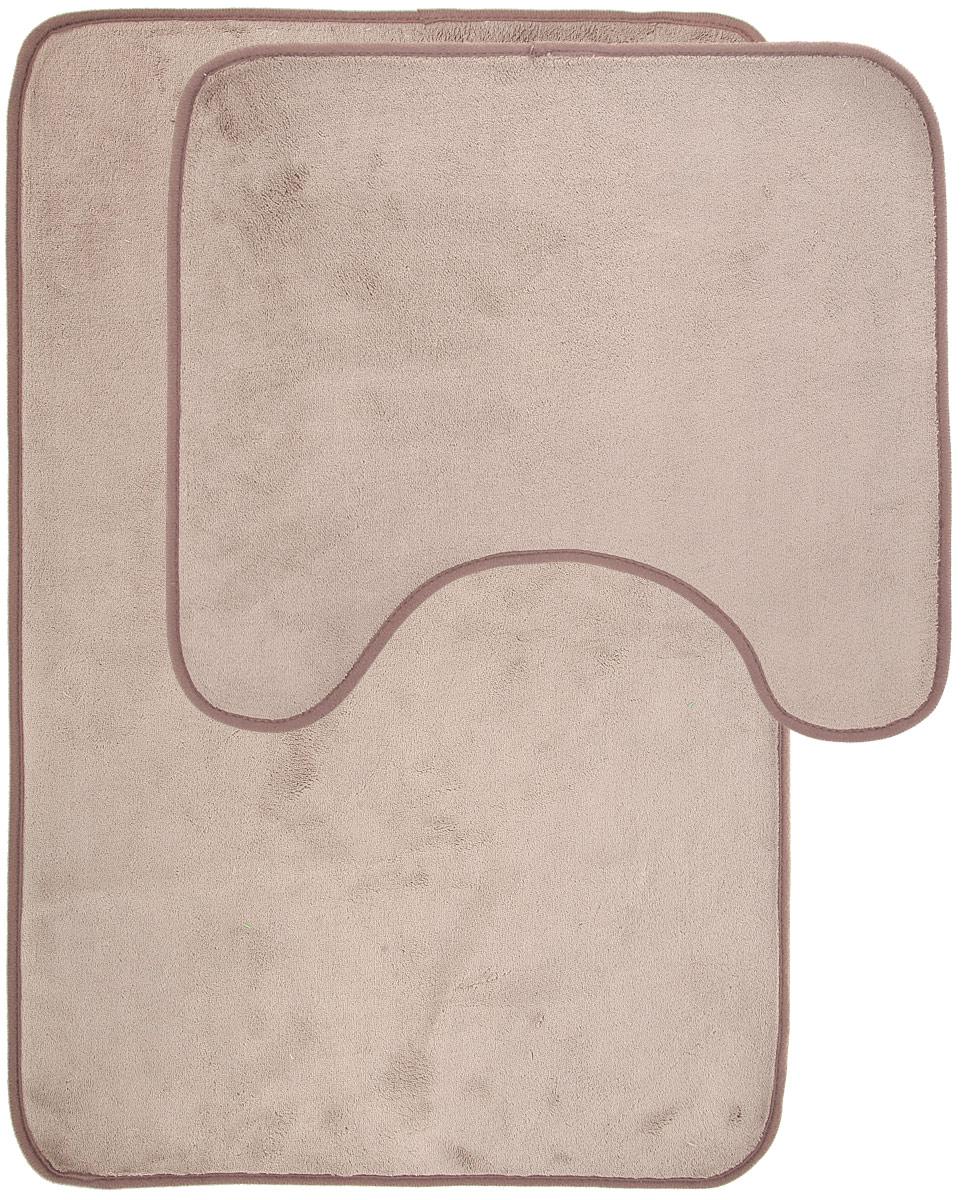 Набор ковриков для ванной Miolla, цвет: бежевый, серый, 2 шт106-029Набор Miolla состоит из двух ковриков для ванной комнаты: прямоугольного и с вырезом. Изделия изготовлены из 100% полиэстера. Благодаря специальной обработки нижней стороны, коврики не скользят на плитке. Изделия послужат прекрасным дополнением к интерьеру и порадуют вас своей функциональностью.Размер ковриков: 75 см х 48 см, 45 см х 40 см.Высота ворса: 0,3 см.