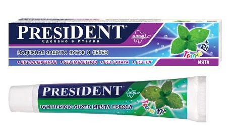 President Зубная паста Teens 12+, для подростков, со вкусом мяты, 50 мл18050Зубная паста PRESIDENT Teens 12+ предназначена для ежедневного ухода за формирующейся эмалью подростков. Стимулирует процессы реминерализации, предотвращает разрушение эмали и развитие кариеса. Мягко, бережно удаляет зубной налет. Прозрачный лазурно-голубой гель со стойким вкусом мяты придает длительную свежесть дыханию. Паста полностью безопасна в случае заглатывания. Содержит ксилитол и фтор в концентрации, рекомендованной Всемирной Организации Здравоохранения. Товар сертифицирован. УВАЖАЕМЫЕ КЛИЕНТЫ! Обращаем ваше внимание на ассортимент в дизайне упаковки товара. Поставка осуществляется в зависимости от наличия на складе.