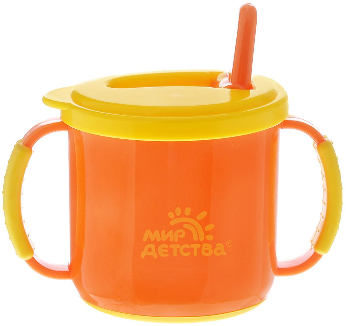 Мир детства Поильник-непроливайка с ручками цвет оранжевый желтый от 8 месяцев 200 мл