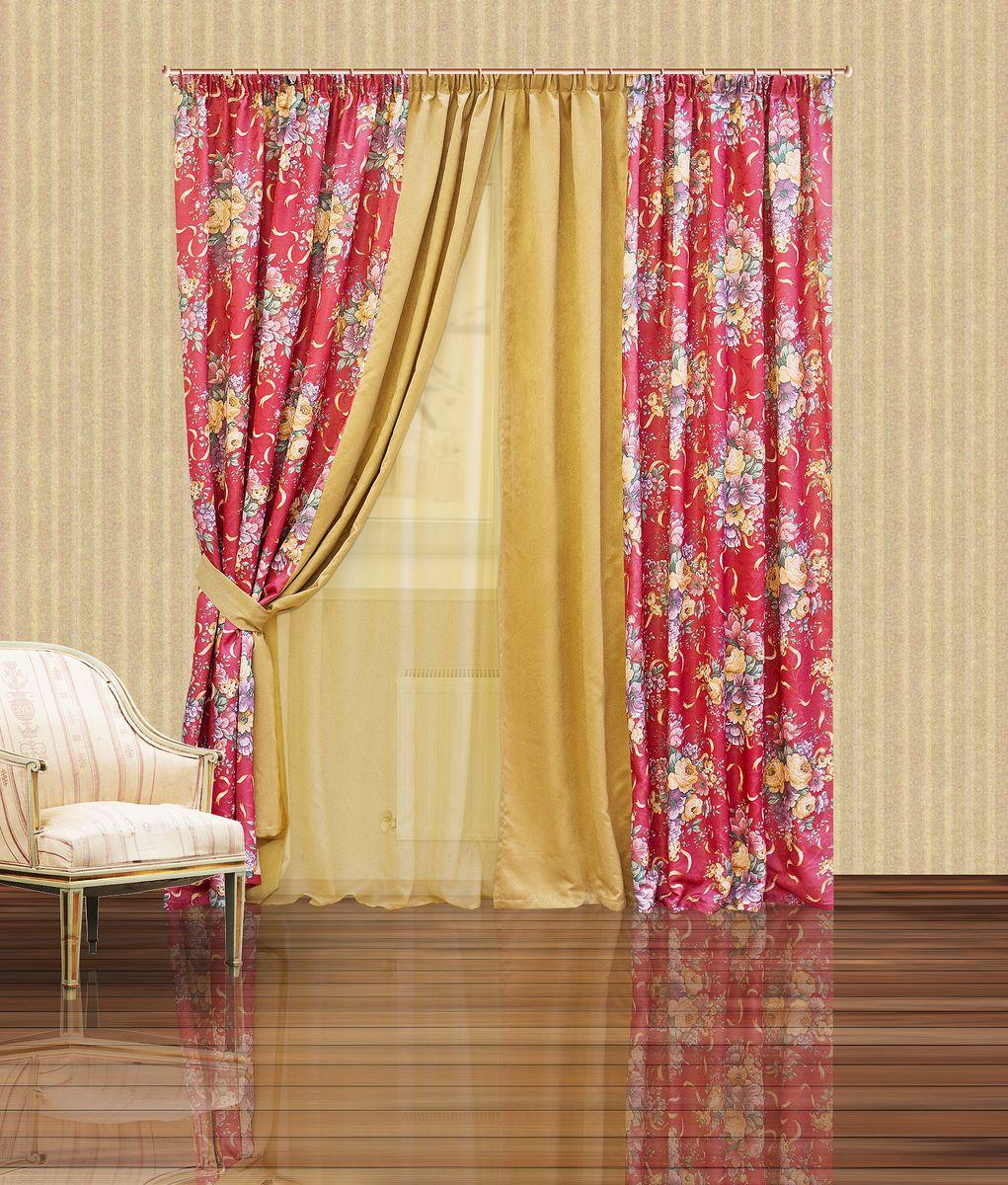 Комплект штор Zlata Korunka, на ленте, цвет: бордовый, бежевый, высота 250 см. 5555710503Комплект штор Zlata Korunka, выполненный из полиэстера, великолепно украсит любое окно. Комплект состоит из тюля, двух штор и двух подхватов. Крупный цветочный рисунок и приятная цветовая гамма привлекут к себе внимание и органично впишутся в интерьер помещения. Этот комплект будет долгое время радовать вас и вашу семью!Комплект крепится на карниз при помощи ленты, которая поможет красиво и равномерно задрапировать верх.В комплект входит: Тюль: 1 шт. Размер (Ш х В): 400 х 250 см. Штора: 2 шт. Размер (Ш х В): 200 х 250 см.Подхват: 2 шт. Размер (Ш х Д): 10 х 60 см.