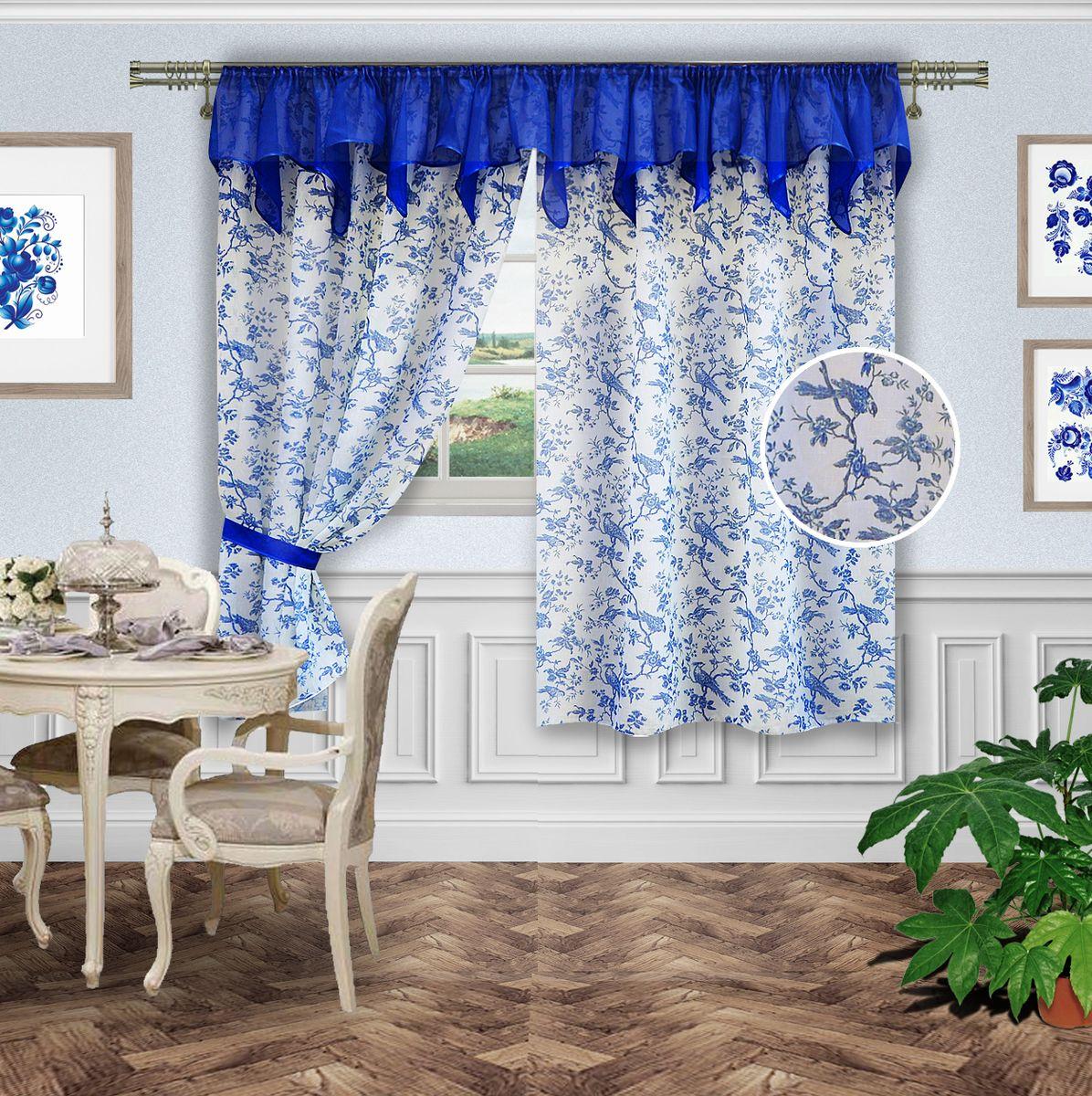 Комплект штор Zlata Korunka. 5556955569Комплект штор на шторной ленте (140*180-2шт и 2 подхвата ( вуаль) ламбрекен 300*50. Ткань : под лен с рисуком  Гджель декорирован фигурным ламбрекеном из однотонной вуали василькового цвета, подхваты лен однотонный синий