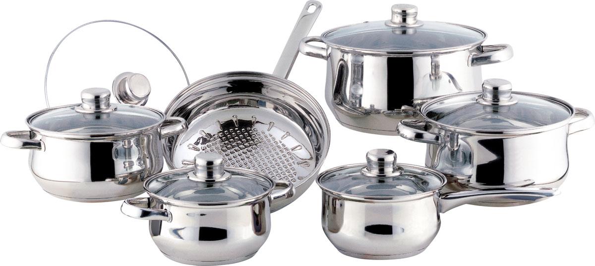 Набор посуды Bekker Classic, с крышками, 12 предметов. BK-226BK-251Набор Bekker Classic состоит из 4 кастрюль с крышками, ковша с крышкой и сковороды с крышкой. Изделия изготовлены из высококачественной нержавеющей стали 18/10 с зеркальной полировкой. Посуда имеет капсулированное термическое дно - совершенно новая разработка, позволяющая приготавливать здоровую пищу. Благодаря уникальной конструкции дна, тепло, проходя через металл, равномерно распределяется по стенкам посуды. Для приготовления пищи в такой посуде требуется минимальное количество масла, тем самым уменьшается риск потери витаминов и минералов в процессе термообработки продуктов. Крышки выполнены из жаростойкого прозрачного стекла, оснащены ручкой, металлическим ободом и отверстием для выпуска пара. Такие крышки позволяют следить за процессом приготовления пищи без потери тепла. Они плотно прилегают к краю и сохраняют аромат блюд. Объем кастрюль: 1,5 л, 2,1 л, 3 л, 6 л. Внутренний диаметр кастрюль: 16 см, 18 см, 20 см, 24 см. ...