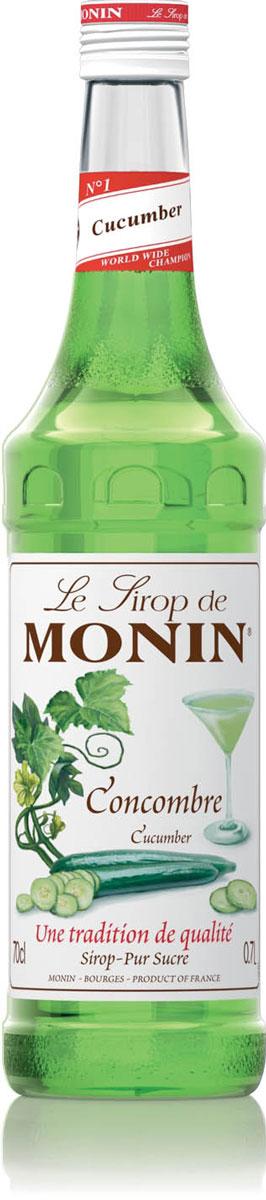 Monin Огуречный сироп, 0,7 л0120710Даже если огурцы очень популярны и доступны во многих странах, всё равно огуречный сок является деликатным и имеет короткий срок хранения. Сироп Monin Огуречный поможет профессионалам сэкономить время, сохраняя реальный свежий вкус огурца.Сиропы Monin выпускает одноименная французская марка, которая известна как лидирующий производитель алкогольных и безалкогольных сиропов в мире. В 1912 году во французском городке Бурже девятнадцатилетний предприниматель Джордж Монин основал собственную компанию, которая специализировалась на производстве вин, ликеров и сиропов. Место для завода было выбрано не случайно: город Бурже находился в непосредственной близости от крупных сельскохозяйственных районов - главных поставщиков свежих ягод и фруктов.Производство сиропов стало ключевым направлением деятельности компании Monin только в 1945 году, когда пост главы предприятия занял потомок основателя - Пол Монин. Именно под его руководством ассортимент марки пополнился разнообразными сиропами из натуральных ингредиентов, которые молниеносно заслужили блестящую репутацию в кругу поклонников кофейных напитков и коктейлей. По сей день высокое качество остается базовым принципом деятельности французской марки. Сиропы Монин создаются исключительно из натуральных ингредиентов по уникальным технологиям, позволяющим сохранять в готовом продукте все полезные свойства природного сырья.Эксперты всего мира сходятся во мнении, что сиропы Monin - это законодатели мод в миксологии. Ассортимент французской марки на сегодняшний день является самым широким и насчитывает полторы сотни уникальных вкусовых решений. В каталоге компании можно найти как классические вкусы для кофейных напитков (шоколадный, ванильный, ореховый и другие сиропы), так и весьма экзотические варианты (сиропы со вкусом кокоса, зеленой мяты, тирамису, блю курасао, аниса, грейпфрута, пина колады и т. д.). Отметим, что все сиропы обладают мягкими, деликатными вкусовыми и ароматическими характерист