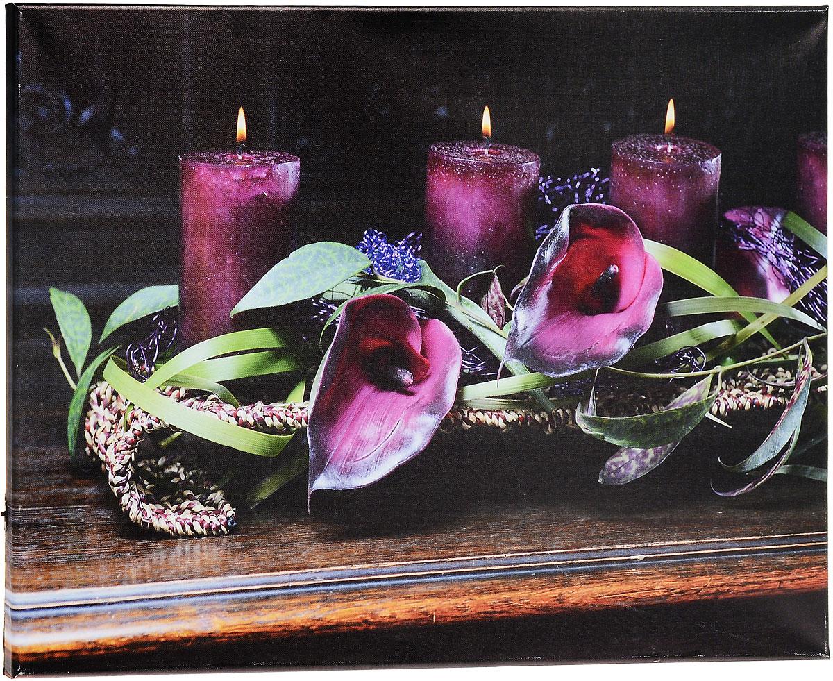 Картина MTH Свечи и цветы, со светодиодами, 40 х 60 смled4060-12Картина MTH Свечи и цветы выполнена на основе из МДФ, обтянутой холстом. Изделие оснащено светодиодами. Их теплый мерцающий в темноте свет оживит ваш дом и добавит ему уюта. На картине изображены свечи и каллы. Благодаря светодиодной подсветке создается ощущение, что теплый свет, исходящий от свечей, действительно может согревать. С оборотной стороны картина оснащена специальным отверстием для подвешивания на стену. Необычная картина придаст интерьеру невероятного шарма и оригинальности. Рисунок успокаивает нервную систему, помогая расслабиться и отвлечься от повседневных забот. Подсветка работает от 2 батареек типа АА напряжением 1,5V (в комплект не входят).