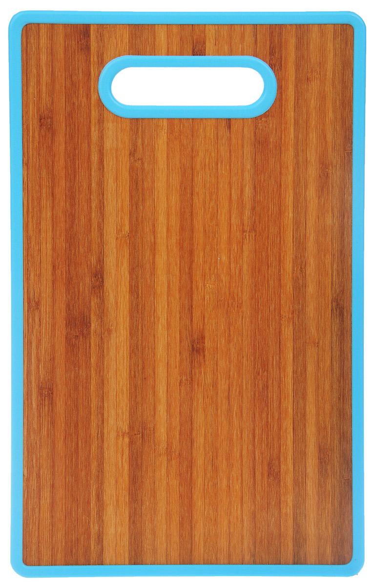 Доска разделочная Home Center, цвет: голубой, 22,5 см х 37 см10136392_голубойРазделочная доска Home Center идеально впишется в интерьер современной кухни. Изделие выполнено с одной стороны - из высококачественного пластика, с другой - из бамбука. Благодаря качественному природному материалу - древесине бамбука, доска обладает высокими гигиеничными свойствами, не впитывает влагу и запахи, имеет долгий срок службы и высокую износоустойчивость. Она прекрасно подойдет для нарезки любых продуктов. Размер доски: 22,5 см х 37 см х 1,2 см.