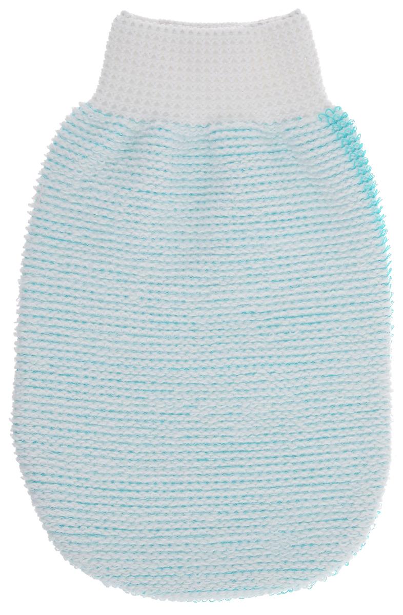 Riffi Мочалка-рукавица массажная, двухсторонняя, цвет: белый, зеленый. 40740087_розовыйМочалка-рукавица Riffi применяется для мытья тела, обладает активным пилинговым действием, тонизируя, массируя и эффективно очищая вашу кожу. Интенсивный и пощипывающий свежий массаж тела с применением мочалки Riffi усиливает кровообращение, активирует кровоснабжение и улучшает общее самочувствие. Благодаря отшелушивающему эффекту, кожа освобождается от отмерших клеток, становится гладкой, упругой и свежей. Мочалка-рукавица Riffi приносит приятное расслабление всему организму. Борется с болями и спазмами в мышцах, а также эффективно предупреждает образование целлюлита. Состав: 50% - хлопок, 30% - полиэстер, 20% - полиэтилен. Товар сертифицирован.