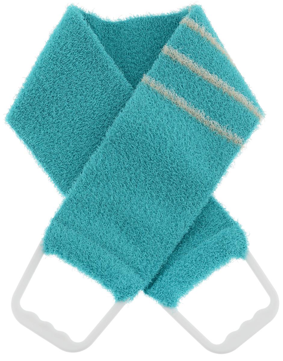 Riffi Мочалка-пояс, массажная, жесткая, цвет: бирюзовый. 824824_бирюзовыйМочалка-пояс Riffi используется для мытья тела, обладает активным пилинговым действием, тонизируя, массируя и эффективно очищая вашу кожу. Хлопковая основа придает мочалке высокие моющие свойства, а примесь жестких синтетических волокон усиливает ее массажное воздействие на кожу. Для удобства применения пояс снабжен двумя пластиковыми ручками. Благодаря отшелушивающему эффекту мочалки-пояса, кожа освобождается от отмерших клеток, становится гладкой, упругой и свежей. Массаж тела с применением Riffi стимулирует кровообращение, активирует кровоснабжение, способствует обмену веществ, что в свою очередь позволяет себя чувствовать бодрым и отдохнувшим после принятия душа или ванны. Riffi регенерирует кожу, делает ее приятно нежной, мягкой и лучше готовой к принятию косметических средств. Приносит приятное расслабление всему организму. Борется со спазмами и болями в мышцах, предупреждает образование целлюлита и обеспечивает омолаживающий эффект. Моет легко и энергично. Быстро...