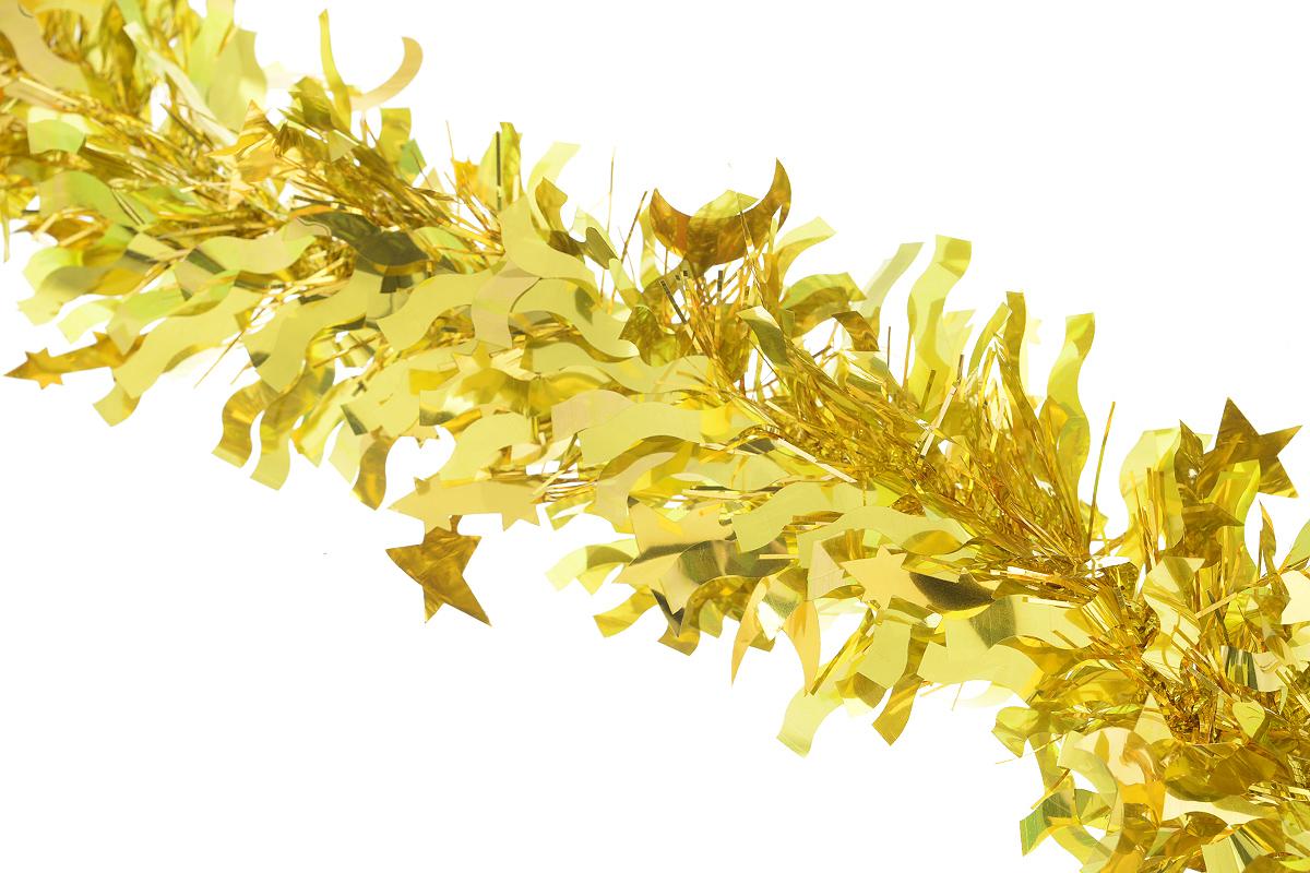Мишура новогодняя Sima-land, цвет: желтый, диаметр 9 см, длина 200 см. 825979825979_желтыйНовогодняя мишура Sima-land, выполненная из фольги с дизайном в виде звездочек и полумесяцев, поможет вам украсить свой дом к предстоящим праздникам. А новогодняя елка с таким украшением станет еще наряднее. Мишура армирована, то есть имеет проволоку внутри и способна сохранять приданную ей форму. Новогодней мишурой можно украсить все, что угодно - елку, квартиру, дачу, офис - как внутри, так и снаружи. Можно сложить новогодние поздравления, буквы и цифры, мишурой можно украсить и дополнить гирлянды, можно выделить дверные колонны, оплести дверные проемы. Коллекция декоративных украшений из серии Зимнее волшебство принесет в ваш дом ни с чем несравнимое ощущение праздника! Создайте в своем доме атмосферу тепла, веселья и радости, украшая его всей семьей.