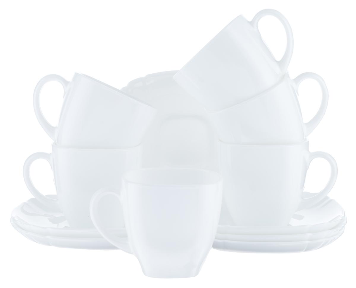 Набор чайный Luminarc Lotusia, цвет: белый, 12 предметовH1789Чайный набор Luminarc Lotusia состоит из шести чашек и шести блюдец. Предметы набора изготовлены из высококачественного стекла. Чайный набор яркого и в тоже время лаконичного дизайна украсит интерьер кухни и сделает ежедневное чаепитие настоящим праздником. Объем чашек: 220 мл. Диаметр чашек по верхнему краю: 8 см. Высота чашек: 7,2 см. Размер блюдец: 13,7 см х 12,2 см.