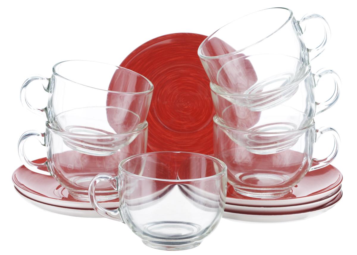 Набор чайный Luminarc Stonemania, цвет: прозрачный, красный, 12 предметовH3765Чайный набор Luminarc Stonemania состоит из 6 чашек и 6 блюдец. Изделия, выполненные из высококачественного ударопрочного стекла, имеют элегантный дизайн и классическую круглую форму. Посуда отличается прочностью, гигиеничностью и долгим сроком службы, она устойчива к появлению царапин и резким перепадам температур. Такой набор прекрасно подойдет как для повседневного использования, так и для праздников. Чайный набор Luminarc Stonemania - это не только яркий и полезный подарок для родных и близких, это также великолепное дизайнерское решение для вашей кухни или столовой. Изделия можно мыть в посудомоечной машине и использовать в СВЧ-печи. Объем чашки: 220 мл. Диаметр чашки (по верхнему краю): 8,3 см. Высота чашки: 6,2 см. Диаметр блюдца (по верхнему краю): 14 см. Высота блюдца: 1,7 см.