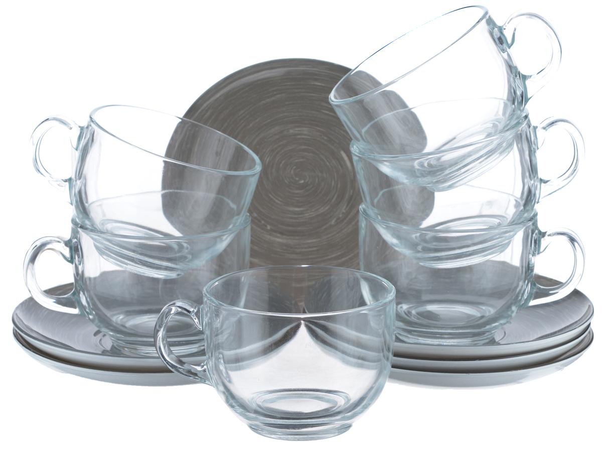 """Набор чайный Luminarc """"Stonemania"""", цвет: прозрачный, серый, 12 предметов H3766"""