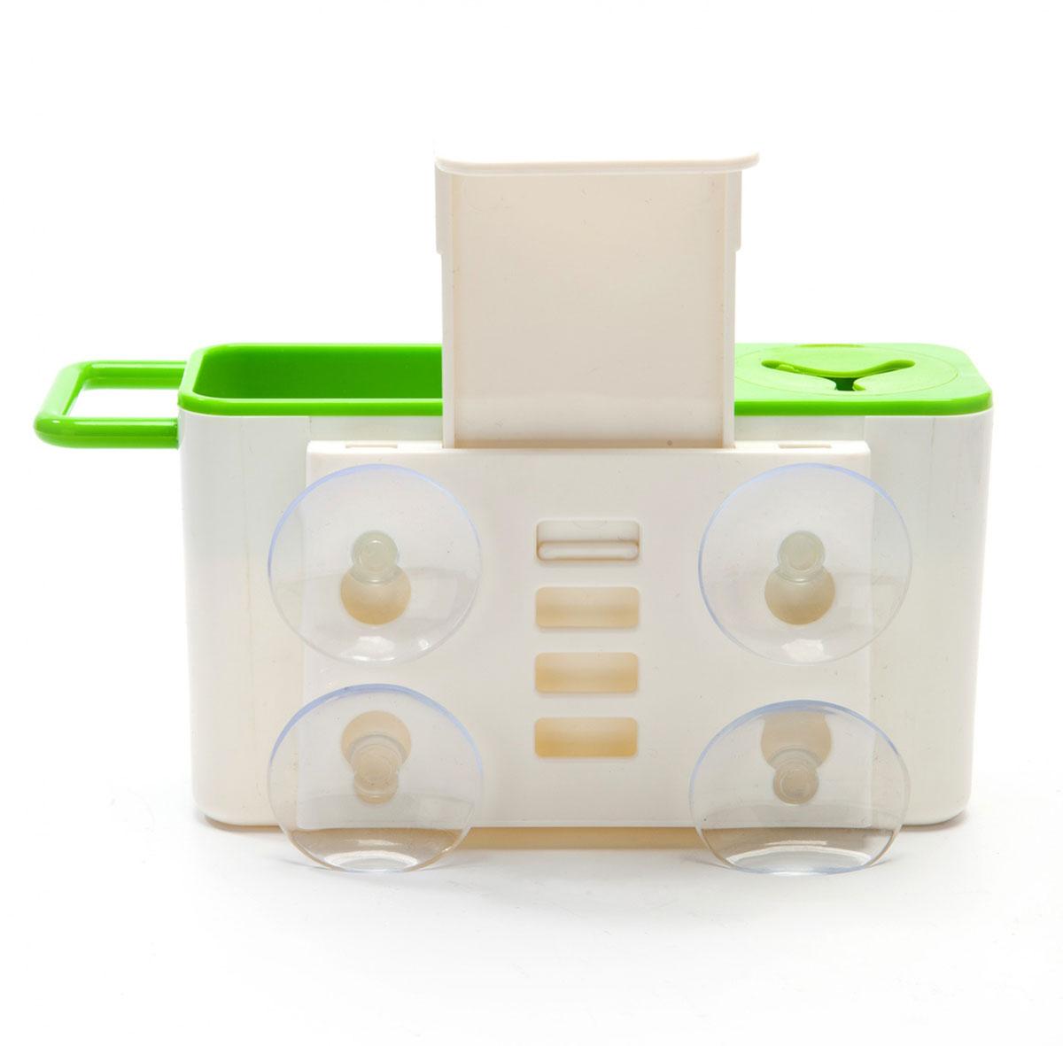 Органайзер для раковины BradexTK 0178Органайзер для раковины Bradex - это удобное и вместительное приспособление для хранения различных принадлежностей для мытья посуды и столешниц. Он плотно крепится на стенку раковины при помощи сильных присосок, таким образом, все необходимое для мытья посуды оказывается в одном удобном месте. Органайзер имеет отделение для губок, перекладину для тряпок, а также отверстие для щеток с ручкой. Благодаря особой конструкции дна органайзера излишки воды или мыла не задерживаются в резервуаре, а стекают прямо в раковину. Кроме того, органайзер для раковины легко разбирается и моется.