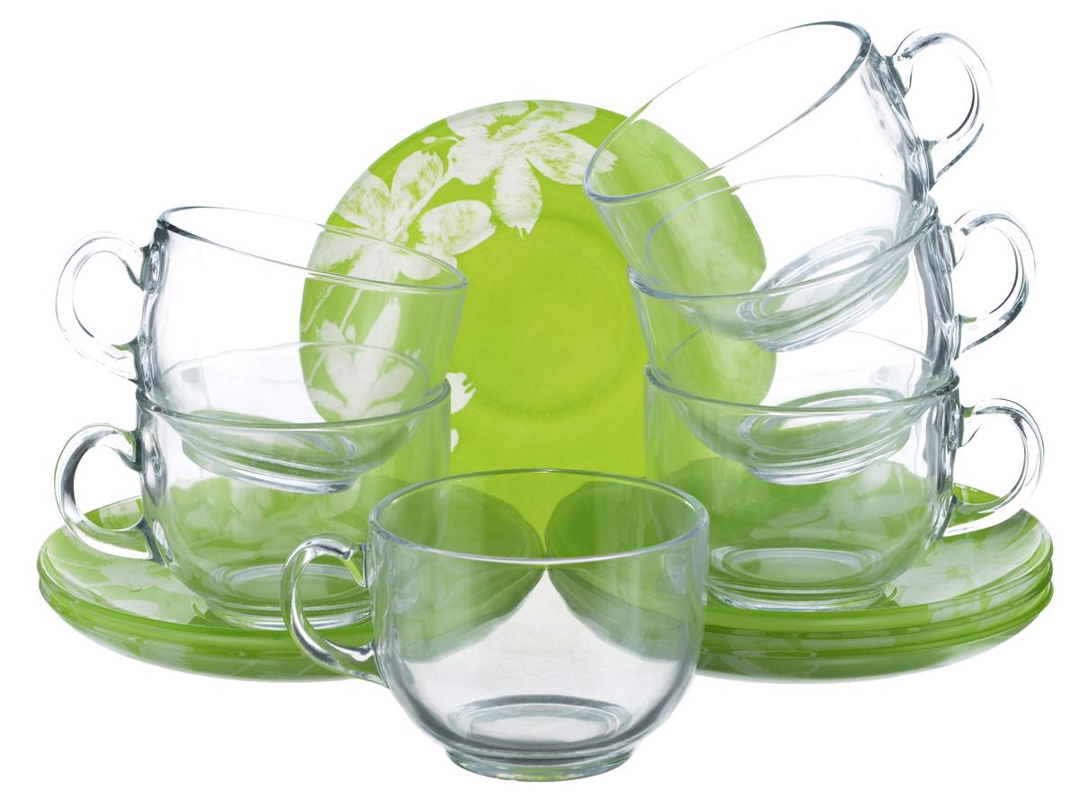 Набор чайный Luminarc Cotton Flower, 12 предметовG2276Чайный набор Luminarc Cotton Flower состоит из 6 чашек и 6 блюдец. Изделия, выполненные из высококачественного ударопрочного стекла, имеют элегантный дизайн с красивым цветочным орнаментом. Посуда отличается прочностью, гигиеничностью и долгим сроком службы, она устойчива к появлению царапин и резким перепадам температур. Такой набор прекрасно подойдет как для повседневного использования, так и для праздников. Чайный набор Luminarc Cotton Flower - это не только яркий и полезный подарок для родных и близких, это также великолепное дизайнерское решение для вашей кухни или столовой. Изделия можно мыть в посудомоечной машине и использовать в СВЧ-печи. Объем чашки: 220 мл. Диаметр чашки (по верхнему краю): 8,2 см. Высота чашки: 6 см. Диаметр блюдца (по верхнему краю): 14 см. Высота блюдца: 2 см.