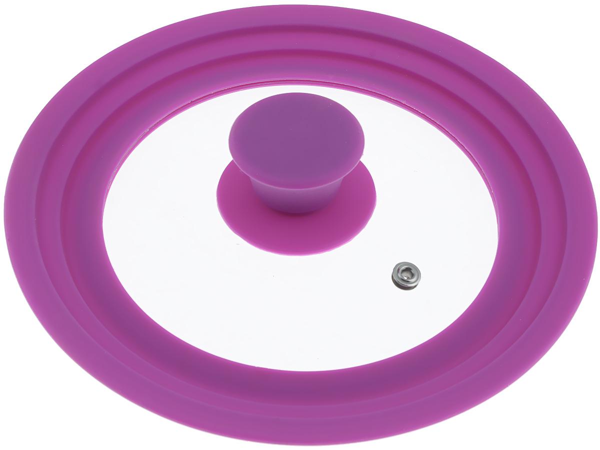 Крышка универсальная Miolla, цвет: фиолетовый, для сковород и кастрюль диаметром 16, 18, 20 см1015021UКрышка Miolla подходит в качестве универсальной крышки к сковородам и кастрюлям диаметром 16, 18, 20 см. Изготовлена из огнеупорного стекла с высококачественным силиконовым ободом. Имеет одно отверстие для выхода пара. Ручка не нагревается. Можно мыть в посудомоечной машине. Невероятно красивые, стильные и функциональные товары бренда Miolla помогут создать дома атмосферу уюта. Современные, продуманные решения для уборки ваших квартир - всё, о чем мечтает каждая хозяйка!