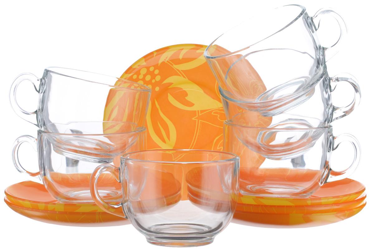 Набор чайный Luminarc Lily Flower, 12 предметов115610Чайный набор Luminarc Lily Flower состоит из 6 чашек и 6 блюдец изготовлен из высококачественного ударопрочного стекла. Необычное сочетание прозрачных кружек и ярких блюдец с крупным цветочным рисунком добавит кухне или столовой яркости и стиля. Изящный дизайн придется по вкусу и ценителям классики, и тем, кто предпочитает утонченность и изысканность. Он настроит на позитивный лад и подарит хорошее настроение с самого утра. Можно мыть в посудомоечной машине. Диаметр чашки (по верхнему краю): 8,3 см. Высота чашки: 6,5 см. Объем чашки: 220 мл. Диаметр блюдца: 13,5 см.
