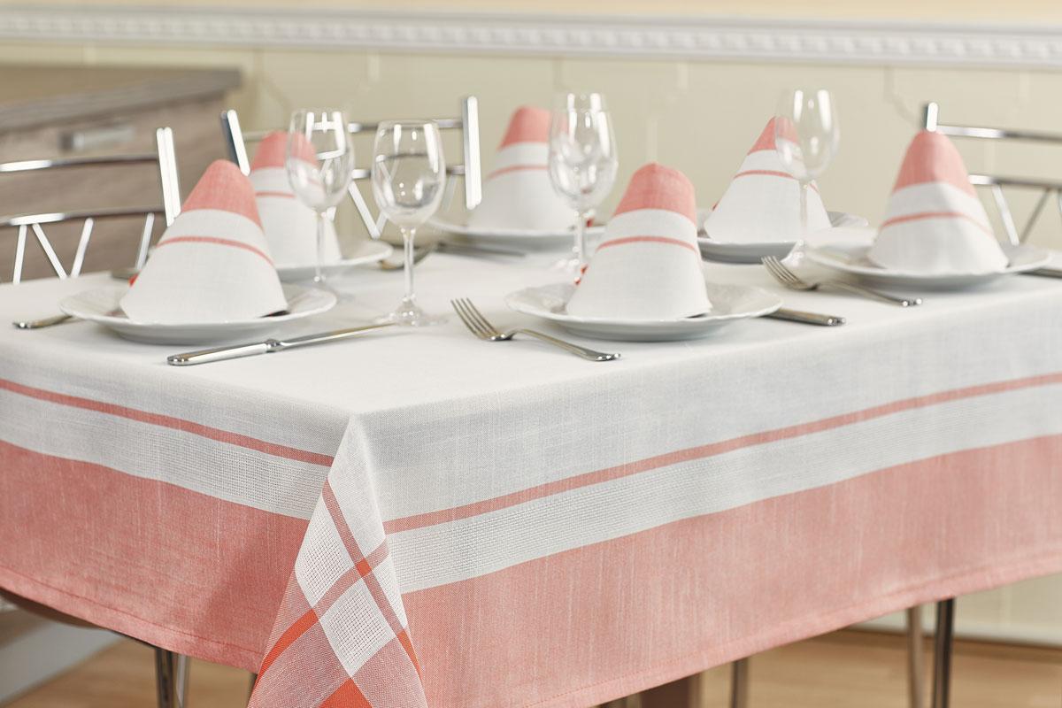 Комплект столовый Primavelle Duet, цвет: белый, розовый, 7 предметов4661191622-26Роскошный комплект столового белья Primavelle Duet состоит из скатерти прямоугольной формы и шести квадратных салфеток. Комплект выполнен из натуральных тканей: льна - 30% и хлопка - 70%. Комплект несомненно, придаст интерьеру уют и внесет что-то новое. Использование такого комплекта сделает застолье более торжественным, поднимет настроение гостей и приятно удивит их вашим изысканным вкусом. Вы можете использовать этот комплект для повседневной трапезы, превратив каждый прием пищи в волшебный праздник и веселье. Размер скатерти: 160 х 220 см. Размер салфеток: 40 х 40 см.