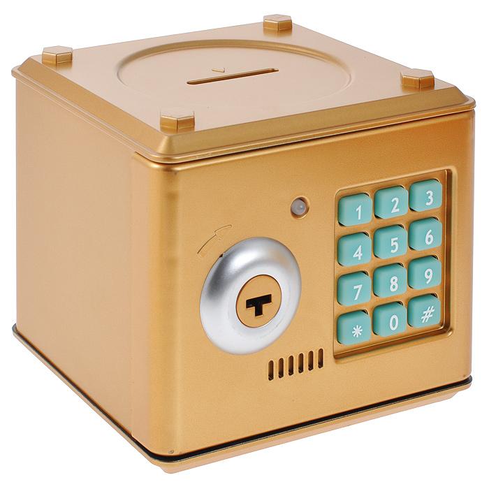 Копилка-сейф Эврика, цвет: золотистый. 9492894928Оригинальная копилка, выполненная из пластика золотистого цвета, работает как настоящий сейф. Копилка затягивает купюры, имеет электромагнитную защелку и кодовый доступ. Чтобы ее открыть, нужно ввести 4- значный цифровой пароль (настоящий пароль 0000), прокрутить ключ и открыть дверь. Когда дверь открывается или закрывается, горит лампочка и воспроизводится скрипучий звук. Сейф с открытой дверцей издает тревожные сигналы примерно раз в 10 секунд. С внутренней стороны дверцы есть переключатель Голос - Музыка. Используйте его для выбора желаемого режима. Пароль можно сменить. Для этого введите пароль 0000, откройте крышку, удерживайте кнопку * (при этом одновременно загорится лампочка), в течение 15 секунд введите новый пароль, нажмите кнопку # (лампочка перестанет гореть), отпустите кнопку * и закройте дверь. Сейф оснащен отверстием для монет. Внутри можно хранить не только деньги, но и другие ценные вещи. Работает от 3 батареек типа АА (в...