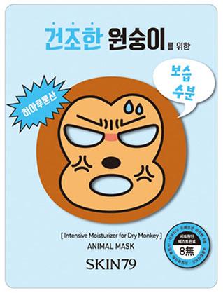 SKIN79 Тканевая маска для лица для сухой кожи Animal Mask, 23 гр3400044Тканевая маска для лица для сухой кожи, 23гр Зверомаска «обезьянка» в виде веселой обезьянки содержит гиалуроновую кислоту, которая интенсивно насыщает влагой Вашу кожу! Благодаря усиленной увлажняющей формуле, маска идеально подходит для сухой и чувствительной кожи. Экстракт семян лотуса успокаивает и снимает раздражения, а легкий водный аромат оказывает освежающее воздействие. Экстракты свежих фруктов позаботятся о Вашей кожи и устранят все ее недостатки!