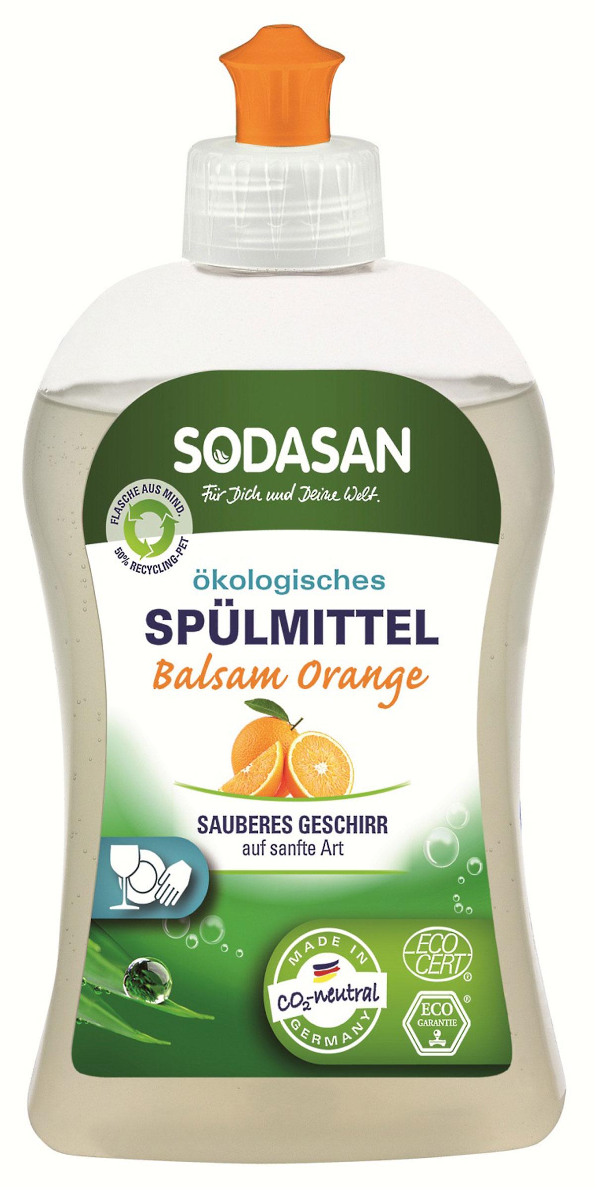 Жидкое средство Sodasan для мытья посуды, с запахом апельсина, 500 мл жидкое мыло sodasan пряный апельсин 250 мл