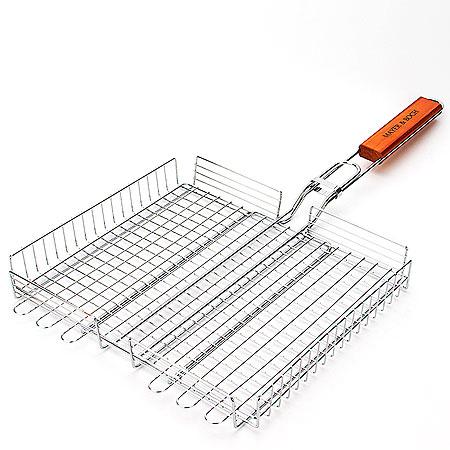 Решетка для барбекю Mayer & Boch, с ручкой, 42 х 33 х 5,5 см22480С решеткой-гриль для барбекю Mayer & Boch вы с легкостью сможете приготовить несколько гамбургеров, куриные грудки или стейки на углях. Решетка изготовлена из хромированного металла. Она достаточно просто регулируется, что поможет вам приготовить продукты разной толщины. Длинная деревянная ручка сохранит ваши руки от ожогов во время готовки. На ручке имеется крючок для подвешивания решетки, обеспечивающий ее компактное хранение. Размер решетки: 42 х 33 х 5,5 см.