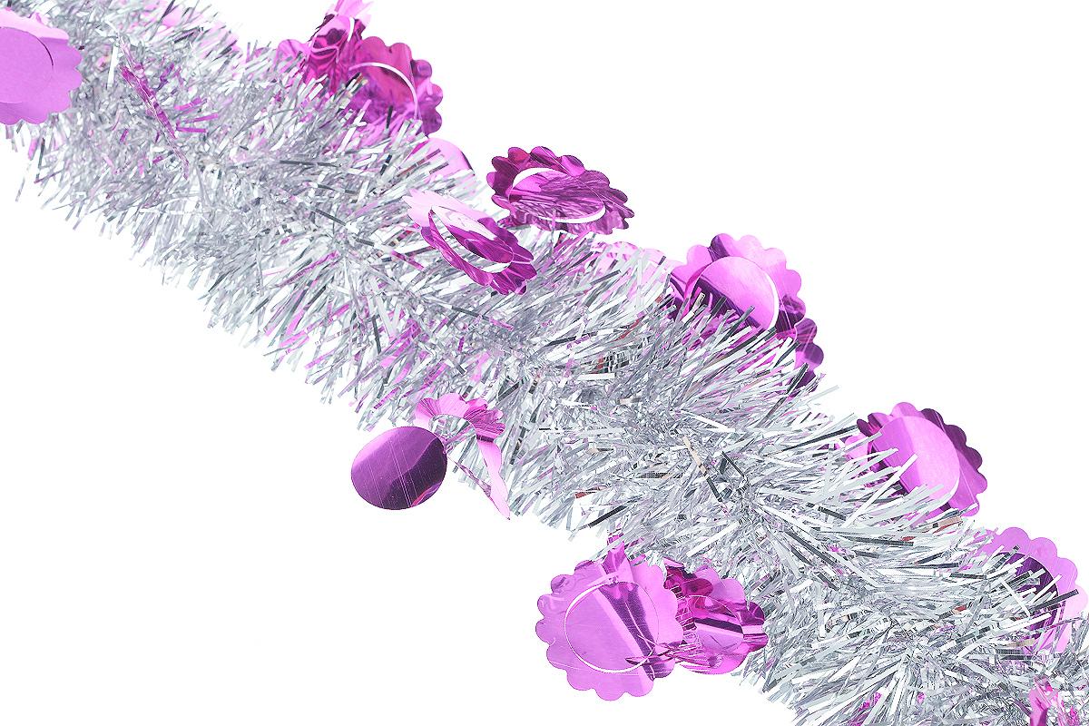Мишура новогодняя Sima-land, цвет: серебристый, малиновый, диаметр 6 см, длина 200 см. 825978A6483LM-6WHНовогодняя мишура Sima-land, выполненная из фольги с дизайном в виде солнышка, поможет вам украсить свой дом к предстоящим праздникам. А новогодняя елка с таким украшением станет еще наряднее. Мишура армирована, то есть имеет проволоку внутри и способна сохранять приданную ей форму. Новогодней мишурой можно украсить все, что угодно - елку, квартиру, дачу, офис - как внутри, так и снаружи. Можно сложить новогодние поздравления, буквы и цифры, мишурой можно украсить и дополнить гирлянды, можно выделить дверные колонны, оплести дверные проемы.