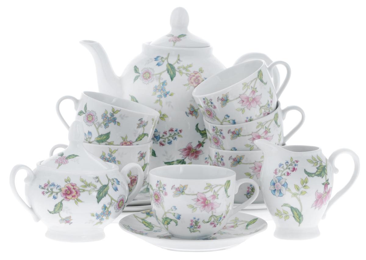 Сервиз чайный Bekker Koch, 15 предметовBK-7144Сервиз чайный Bekker Koch состоит из шести чашек, шести блюдец, заварочного чайника, молочника и сахарницы, изготовленных из фарфора. Предметы набора оформлены красочным изображением цветов. Изящный дизайн придется по вкусу и ценителям классики, и тем, кто предпочитает утонченность и изысканность. Он настроит на позитивный лад и подарит хорошее настроение с самого утра. Сервиз чайный - идеальный и необходимый подарок для вашего дома и для ваших друзей в праздники, юбилеи и торжества! Он также станет отличным подарком и украшением любой кухни. Объем чашек: 220 мл. Диаметр чашек (по верхнему краю): 8,5 см. Высота чашек: 6,5 см. Диаметр блюдец (по верхнему краю): 15,4 см. Высота блюдец: 2 см. Объем сахарницы: 280 мл. Высота сахарницы (с учетом крышки): 13 см. Диаметр сахарницы (по верхнему краю): 8 см. Объем чайника: 1,1 л. Высота чайника (с учетом крышки): 23 см. Диаметр чайника (по верхнему краю): 8...