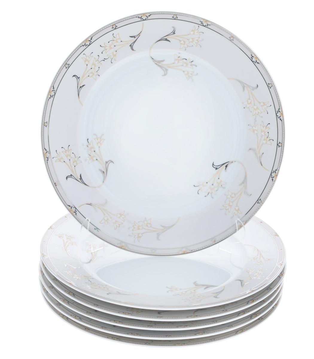 Набор тарелок La Rose Des Sables Mimosa, диаметр 25 см, 6 шт539029 1558Набор La Rose Des Sables Mimosa, выполненный из высококачественного фарфора, состоит из шести тарелок. Изделия декорированы оригинальным цветочным узором и прекрасно подойдут для красивой сервировки стола. Эстетичность, функциональность и изящный дизайн сделают набор достойным дополнением к вашему кухонному инвентарю. Набор тарелок La Rose Des Sables Mimosa украсит ваш стол и станет отличным подарком к любому празднику. Диаметр тарелки: 25 см. Высота тарелки: 2,5 см.