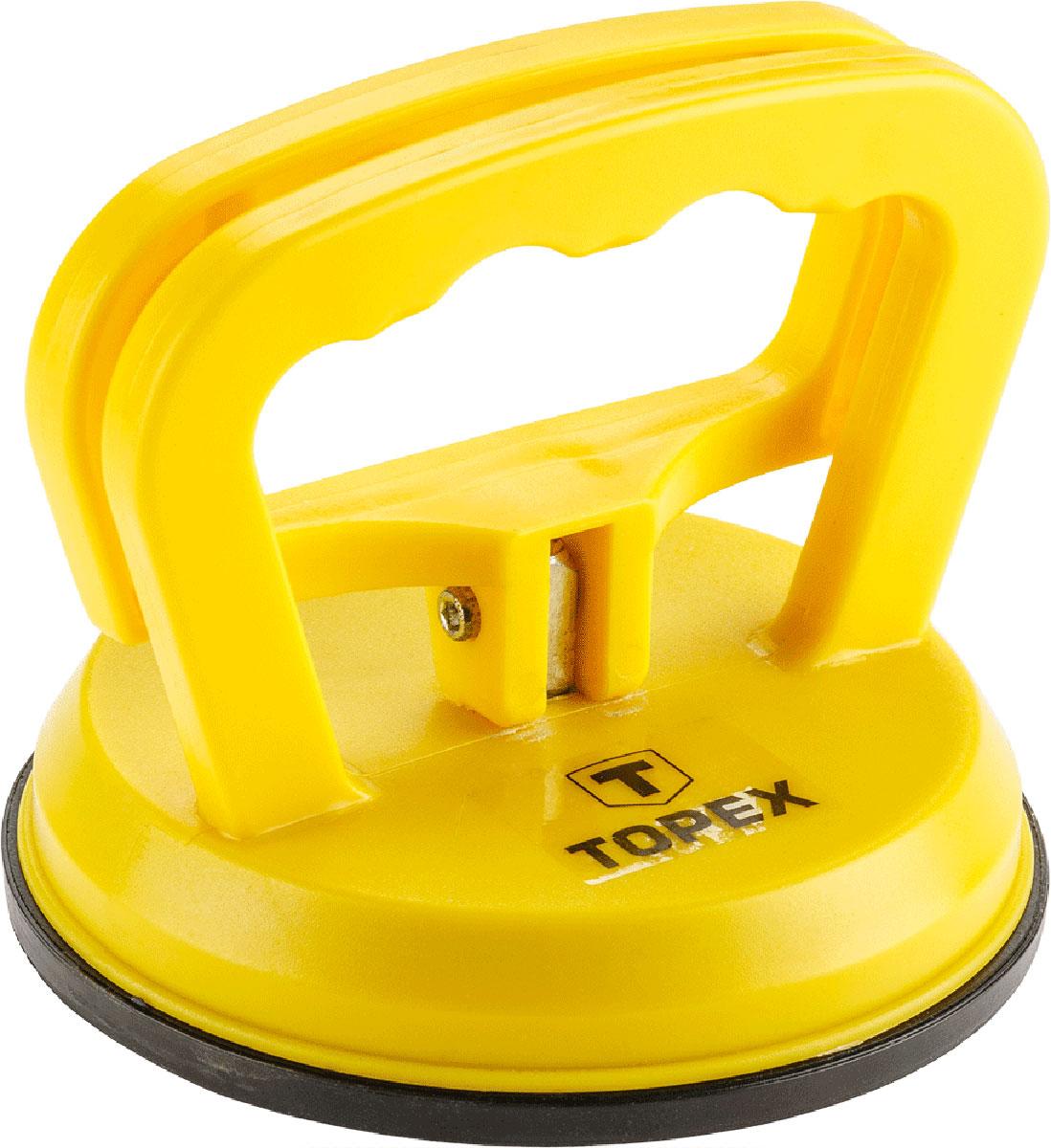 Стеклодомкрат Topex, одинарный, цвет: желтый, черный, до 40 кг14A740_желтыйСтеклодомкрат Topex предназначен для захвата, переноски и монтажа листового стекла, кафельной плитки и других листовых изделий с гладкой полированной поверхностью. Изделие выполнено из прочного пластика, подошва из резины. Захват происходит при помощи поднятия ручки.