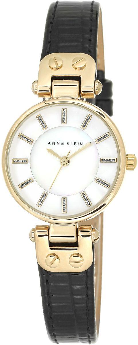 Наручные часы женские Anne Klein, цвет: белый, черный, золотой. 1950MPBK1950MPBKКорпус: металл, PVD покрытие, 26 мм, стекло: минеральное, циферблат перламутровый, браслет: черный кожаный ремешок, механизм: кварцевый, водозащита: 3 АТМ
