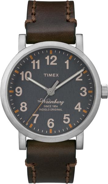Наручные часы мужские Timex, цвет: серый, коричневый. TW2P58700TW2P58700Корпус 40 мм, циферблат серого цвета, ремешок из натуральной кожи коричневого цвета, водозащита 5АТМ, подсветка INDIGLO