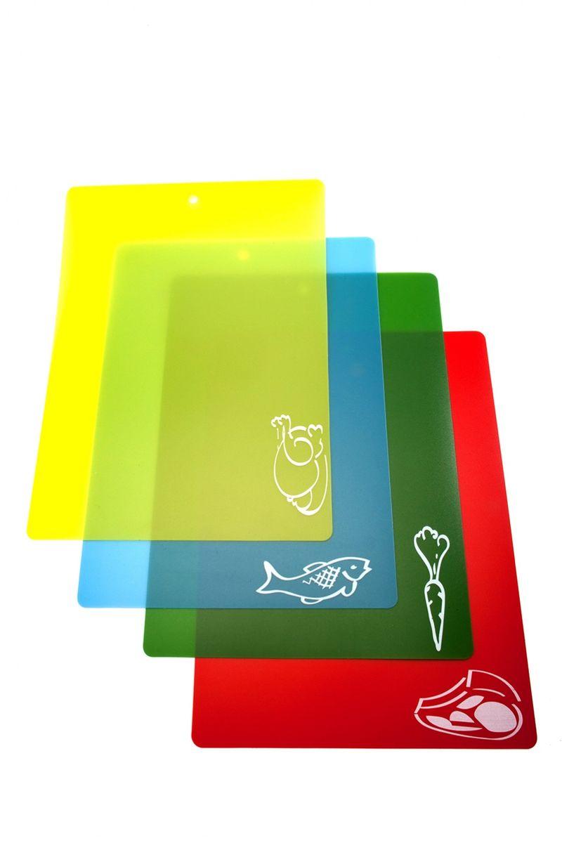 Набор гибких разделочных досок (4 шт.). TK 0174TK 0174Набор гибких разделочных досок (4 шт.) – практичный, удобный и современный аксессуар на Вашей кухне. Преимущества: 1. легко моется и не впитывают влагу 2. в комплекте 4 доски с большой рабочей поверхностью 3. простая система цветных индикаторов и рисунков для обозначения продукта, который можно резать на данной доске 4. легко скручивается для удобного хранения и легкого перемещения нарезанных продуктов в кастрюлю, сковороду, тарелку и т.д. 5. незаменим на пикнике и на даче