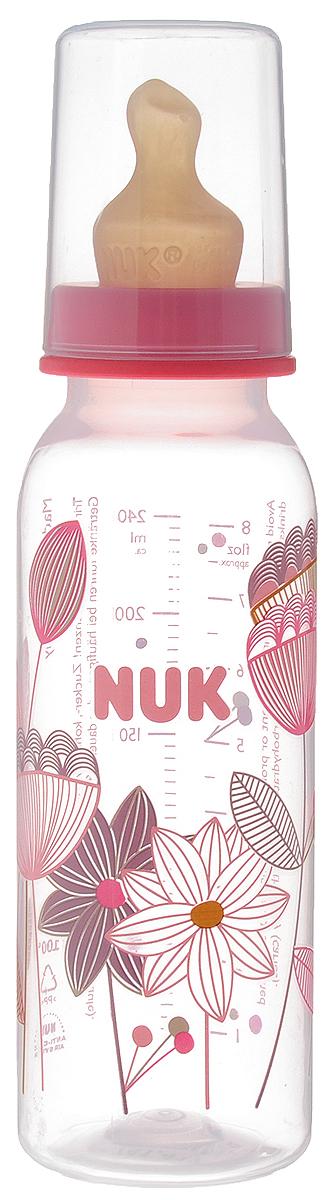 NUK Бутылочка для кормления с латексной соской от 0 до 6 месяцев 240 мл цвет коралловый