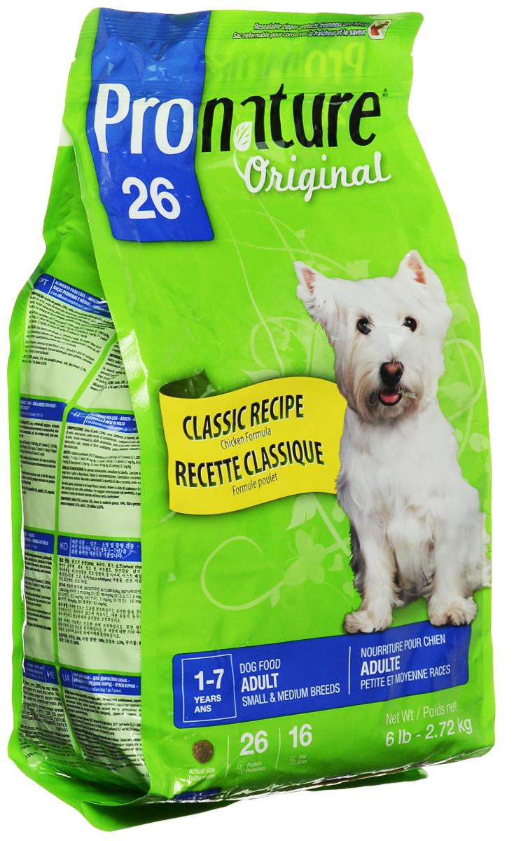 Корм сухой Pronature Original 26 для собак мелких и средних пород, с курицей, 2,72 кг30163Взрослые собаки мелких и средних пород нуждаются в специальном сбалансированном питании в соответствии с их особыми потребностями. Восхитительный рецепт Pronature Original 26 для собак мелких и средних пород обеспечивает оптимальный баланс энергии и питательных веществ для здоровья и долголетия вашего маленького друга! Состав: мука из мяса курицы, молотая кукуруза, пшеничные отруби, кукурузный глютен, куриный жир, сохраненный смесью натуральных токоферолов (витамин Е), рис пивной, сушеная мякоть свеклы, кальция карбонат, натуральный ароматизатор, монокальция фосфат, сушеная люцерна, цельное льняное семя, дрожжевая культура, лецитин, кальция пропионат, мононатрия фосфат, калия хлорид, холина хлорид, соль, железа сульфат, цинка оксид, экстракт юкки Шидигера, альфа-токоферол ацетат (витамин Е), натрия селенит, тиамина мононитрат, сушеный шпинат, сушеный розмарин, сушеный тимьян. Добавленные вещества: меди сульфат, кальция иодат, пиридоксина гидрохлорид, марганца оксид,...