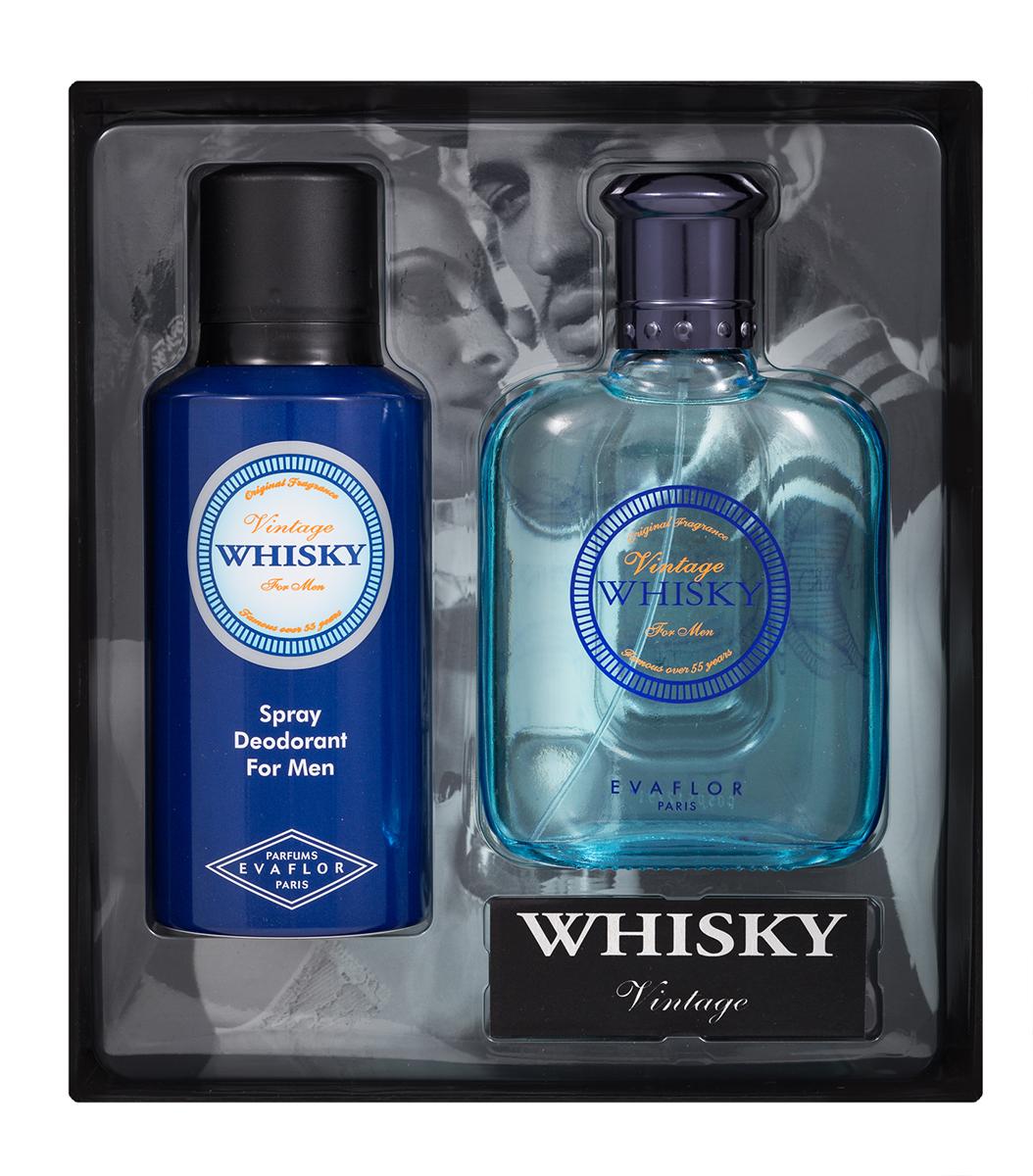 Evaflor Подарочный набор Whisky Vintageмужской: Туалетная вода,100 мл , дезодорант, 150 мл42898Подарочный набор для мужчин : туалетная вода 100мл, парфюмированный дезодорант 150 мл.