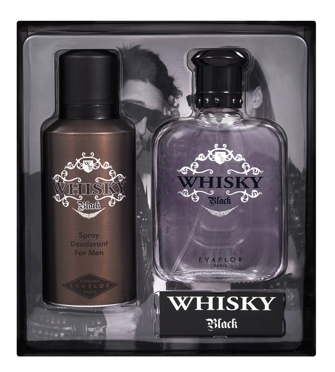 Evaflor Подарочный набор Whisky Black мужской: Туалетная вода, 100 мл , дезодорант, 150 мл1101Подарочный набор для мужчин : туалетная вода 100мл, парфюмированный дезодорант 150 мл.