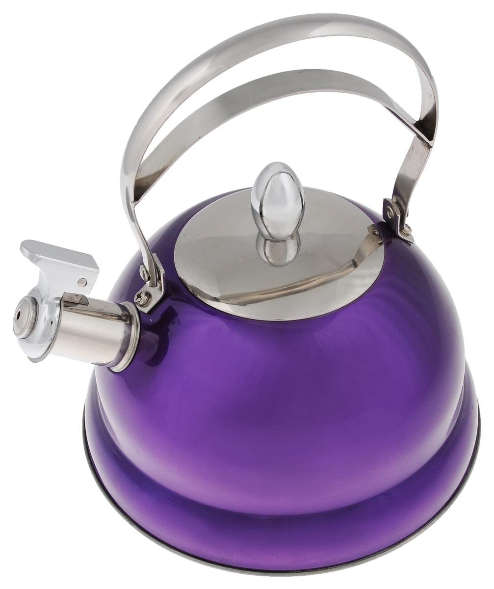 Чайник Bekker De Luxe, со свистком, цвет: фиолетовый, 2,7 лVT-1520(SR)Чайник Bekker De Luxe изготовлен из высококачественной нержавеющей стали 18/10 с цветным эмалевым покрытием. Капсулированное дно распределяет тепло по всей поверхности, что позволяет чайнику быстро закипать. Ручка подвижная. Носик оснащен откидным свистком, который подскажет, когда вода закипела. Свисток открывается и закрывается рычагом на носике. Подходит для всех типов плит, включая индукционные. Можно мыть в посудомоечной машине.Диаметр (по верхнему краю): 10 см. Диаметр основания: 22 см. Высота чайника (без учета ручки): 11,5 см. Высота чайника (с учетом ручки): 25 см.