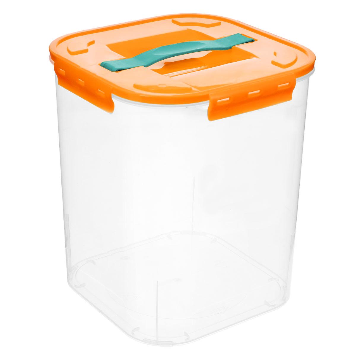 Контейнер для хранения Idea, цвет: оранжевый, прозрачный, 10 лМ 2827_оранжевыйКонтейнер для хранения Idea выполнен из прозрачного пластика. Контейнер идеально подойдет для хранения пищевых продуктов, а также любых мелких бытовых предметов: канцелярии, принадлежностей для шитья и многого другого. Контейнер плотно закрывается цветной крышкой с 4 защелками. Для удобства переноски сверху имеется ручка, выполненная из термоэластопласта. Контейнер Idea очень вместителен, он пригодится в любом хозяйстве.
