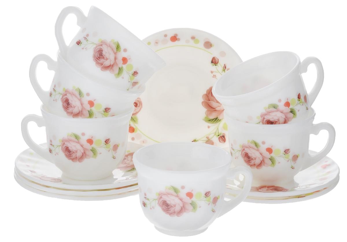 Набор чайный Miolla Глория, цвет: белый, розовый, 12 предметовXWB190/HP55-6A/6546-2Набор чайный Miolla Глория состоит из шести чашек и шести блюдец. Предметы набора изготовлены из высококачественной керамики. Блюдца круглой формы. Чайный набор яркого и в тоже время лаконичного дизайна украсит интерьер кухни и сделает ежедневное чаепитие настоящим праздником. Можно мыть в посудомоечной машине и использовать в микроволновой печи. Диаметр чашек (по верхнему краю): 8,5 см. Высота чашек: 6,5 см. Диаметр блюдец: 14 см. Объем чашек: 250 мл.