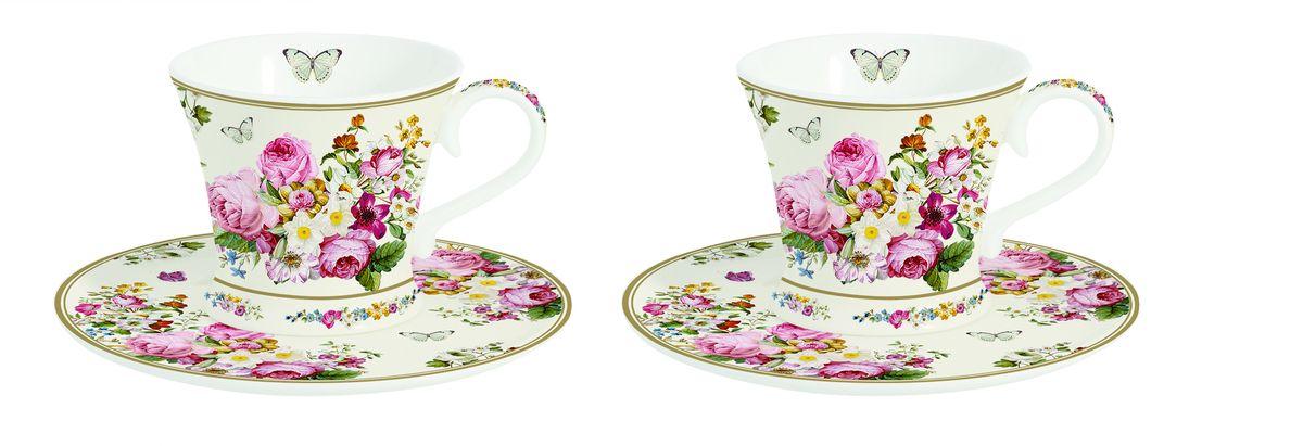 Набор кофейных пар Nuova R2S Роскошные цветы, 4 предмета1353BLOCНабор Nuova R2S Роскошные цветы состоит из двух кофейных пар (2 чашки и 2 блюдца), изготовленных из высококачественного фарфора и оформленных цветочным рисунком. Яркий дизайн, несомненно, придется вам по вкусу. Набор Nuova R2S Роскошные цветы украсит ваш кухонный стол, а также станет замечательным подарком к любому празднику. Можно мыть в посудомоечной машине и использовать в микроволновой печи. Объем чашек: 80 мл. Диаметр чашек (по верхнему краю): 7 см. Диаметр основания чашек: 5 см. Высота чашек: 6 см. Диаметр блюдец: 12 см.