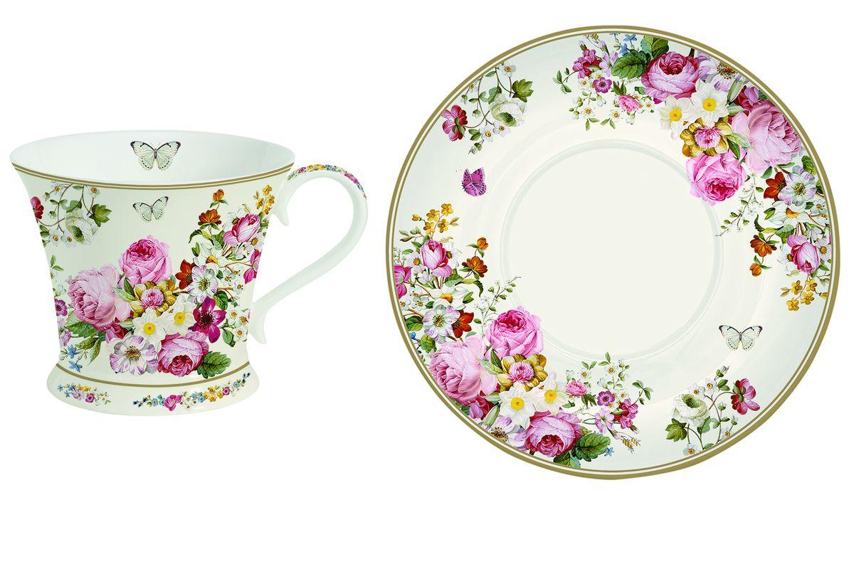 Чайная пара Nuova R2S Роскошные цветы, 2 предмета115610Чайная пара Nuova R2S Роскошные цветы состоит из чашки и блюдца, изготовленных из высококачественного костяного фарфора Bone China. Изделия оформлены оригинальным изображением цветов и бабочек.Такой набор прекрасно дополнит сервировку стола к чаепитию и подчеркнет ваш изысканный вкус. Прекрасный подарок к любому случаю. Можно мыть в посудомоечной машине и использовать в СВЧ-печи. Объем чашки: 180 мл. Диаметр чашки (по верхнему краю): 9 см. Высота чашки: 8 см. Диаметр блюдца: 15 см.