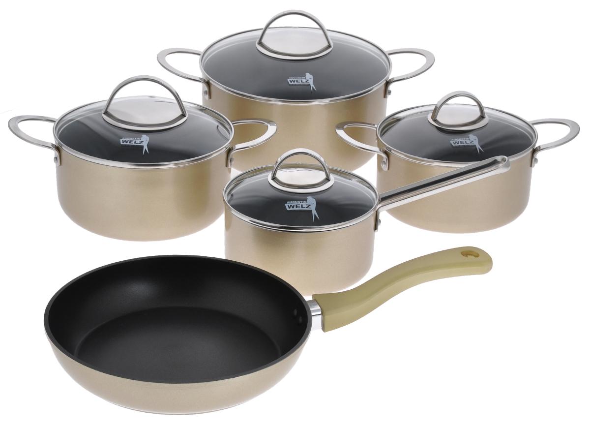 Набор посуды Augustin Welz, с антипригарным покрытием, цвет: золотистый, черный, 9 предметовAW-2202Набор посуды Augustin Welz состоит из ковша с крышкой, 3 кастрюль разных объемов с крышками и сковороды. Посуда изготовлена из алюминия с внутренним антипригарным покрытием Daikin. Благодаря такому покрытию ваше блюдо никогда не пригорит. Индукционное штампованное дно из алюминия и нержавеющей стали обеспечивает равномерный нагрев, а также долговечность изделий. Внешнее керамическое цветное покрытие Xyflon способно выдерживать высокую температуру. Крышки из термостойкого стекла с отверстиями для выпуска пара дают возможность полностью контролировать процесс приготовления блюда. Плотно закрывающиеся крышки надежно удерживают тепло и влагу внутри кастрюль. Эргономичные литые ручки безопасно и удобно держать даже в кухонных прихватках. Двойное клепочное крепление ручек обеспечивает надежность перемещения посуды. Подходит для всех видов плит, включая индукционные. Можно мыть в посудомоечной машине и использовать в духовке при температуре до 200°С. ...