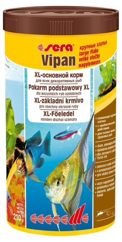 Sera Vipan Корм для декоративных рыб, крупные хлопья 1000мл15961Классика - хлопьевидный корм для декоративных рыб в аквариумах со смешанным сообществом. sera випан - идеальный основной корм для рыб в аквариумах со смешанным сообществом. Сбалансированный состав удовлетворяет потребности множества видов. Бережная обработка гарантирует сохранение ценных ингредиентов (например, жирных кислот Омега, витаминов и минералов). Метод его приготовления, применяемый фирмой sera, позволяет хлопьям сохранять свою форму в течение длительного времени, не загрязняя воду. Благодаря уникальной очень высокой степени измельчения, хлопья в тоже время очень нежны и поэтому охотно поедаются рыбой. Доступен в обычной форме и в форме крупных хлопьев.