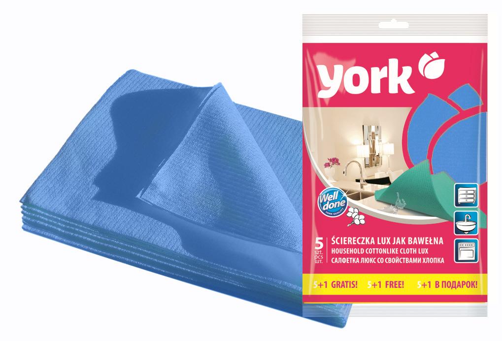 Салфетка York Люкс, влаговпитывающая, цвет: голубой, 35 см х 50 см, 6 штU110DFСалфетка York Люкс предназначена для очистки любых поверхностей. Выполнена из высококачественной вискозы. Шелковистая на ощупь салфетка имеет отличные влаговпитывающие свойства.