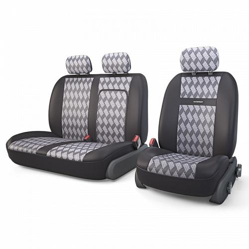 Авточехлы Autoprofi Tranzit, для фургонов, цвет: черный, серый, 7 предметов. TRZ-702 CHESSTRZ-702 CHESSАвтомобильные чехлы Autoprofi Tranzit изготовлены из высококачественного полиэстера и жаккарда со вставками из поролона толщиной 2 мм, обеспечивающего сцепление с сиденьем. Ткань хорошо пропускает воздух и отводит влагу. В комплект входит чехол на водительское кресло, сдвоенный чехол на пассажирское кресло с клапаном на молнии для использования штатного подлокотника. В спинке пассажирского сидения имеется молния для откидного столика. Мягкие чехлы являются отличным дополнением салона любого фургона. Изделия придают автомобильному интерьеру современные и солидные черты. Чехлы подходят для большинства видов коммерческого автотранспорта. Комплектация: 3 подголовника, 2 чехла на сиденья, 2 чехла на спинки.