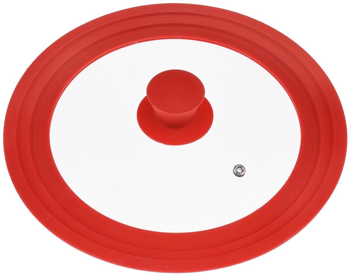 Крышка универсальная Miolla, цвет: красный, для сковород и кастрюль диаметром 22, 24, 26 см1015023UКрышка Miolla подходит в качестве универсальной крышки к сковородам и кастрюлям диаметром 22, 24 и 26 см. Изготовлена из термостойкого стекла толщиной 4 мм. Ручка и ободок выполнены из жаропрочного пищевого силикона, который выдерживает температуру до +200°C. Имеется отверстие для выхода пара. Можно использовать в духовке (до 180°C). Можно мыть в посудомоечной машине.