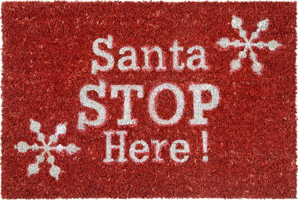 Коврик придверный Gardman Santa Stop Here!, 40 х 60 смUP210DFПридверный коврик Gardman Santa Stop Here!, изготовленный из кокосового волокна с основой из ПВХ, имеет жесткий ворс. Изделие оформлено яркими надписями и изображениям снежинок. Его можно использовать отдельно либо с рамкой на резиновой основе для сменных ковриков. Устойчив к любым погодным условиям. Отличается прочностью и долгим сроком службы.Придверный коврик Gardman Santa Stop Here! прекрасно дополнит интерьер прихожей и надежно защитит помещение от уличной пыли и грязи.