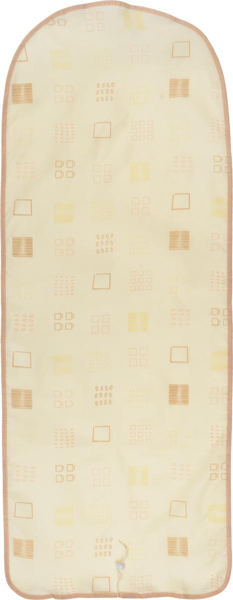 Чехол для гладильной доски Detalle, цвет: бежевый, коричневый, 125 х 47 смЕ1301_бежевый, коричневыйЧехол для гладильной доски Detalle, выполненный из хлопка с подкладкой из мягкого войлокообразного полотна (ПЭФ), предназначен для защиты или замены изношенного покрытия гладильной доски. Чехол снабжен стягивающим шнуром, при помощи которого вы легко отрегулируете оптимальное натяжение чехла и зафиксируете его на рабочей поверхности гладильной доски. Из войлокообразного полотна вы можете вырезать подкладку любого размера, подходящую именно для вашей доски. Этот качественный чехол обеспечит вам легкое глажение. Он предотвратит образование блеска и отпечатков металлической сетки гладильной доски на одежде. Войлокообразное полотно практично и долговечно в использовании. Размер чехла: 125 см x 47 см. Максимальный размер доски: 120 см х 42 см. Размер войлочного полотна: 130 см х 52 см.