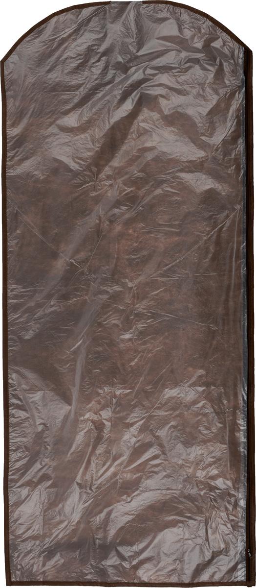 Чехол для одежды Eva, цвет: коричневый, 65 х 150 смЕ171_коричневыйЧехол для одежды Eva изготовлен из высококачественного полипропилена и полиэтилена. Особое строение полотна создает естественную вентиляцию: материал дышит и позволяет воздуху свободно проникать внутрь чехла, не пропуская пыль. Благодаря форме чехла, одежда не мнется даже при длительном хранении. Застегивается на молнию. Чехол для одежды будет очень полезен при транспортировке вещей на близкие и дальние расстояния, при длительном хранении сезонной одежды, а также при ежедневном хранении вещей из деликатных тканей. Чехол для одежды не только защитит ваши вещи от пыли и влаги, но и поможет доставить одежду на любое мероприятие в идеальном состоянии.